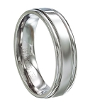 Stainless Steel Wedding Band With Grooved Edges - MSS0136