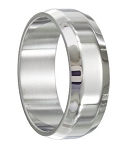 Stainless Steel Wedding Ring with Beveled Edges - MSS0181