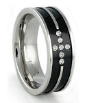 Men's Black Stainless Steel Wedding Band with CZ Cross Design | 8mm - MSS0198
