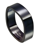 Four Sided Men's Black Stainless Steel Wedding Ring | 8mm