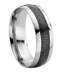 Comfort-fit Titanium Wedding Ring with Black Carbon Fiber Inlay and Polished Finish – 7.9 mm - MT0002