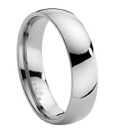 Comfort-fit Titanium Wedding Band with Domed Polished Finish – 6 mm - MT0014
