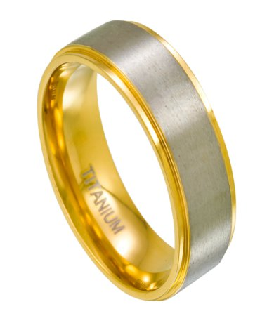 Mens Titanium Two Toned Wedding Bands Gold Satin