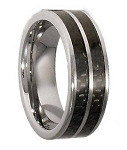 Titanium Ring With A Double Carbon Fiber Inlay - MT0124
