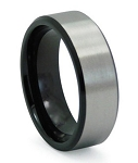 Men's Black Titanium Wedding Band with Satin Finished Overlay | 8mm - MT0142