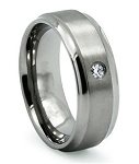 Men's Titanium Wedding Band with Satin Finish and Single CZ | 8mm - MT0144