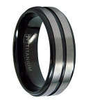 Black Titanium Men's Wedding Band with Two Satin Bands | 8mm - MT0145