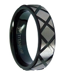 Black Titanium Men's Wedding Band with Patterned Satin Overlay | 7mm - MT0146