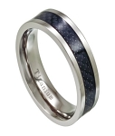 Black Carbon Fiber Titanium Men's Wedding Band with Polished Edges | 7mm - MT0147