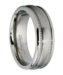 Titanium Wedding Ring for Men with Satin Finish and Milgrain Edge | 6.5mm - MT0148