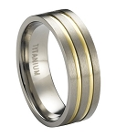 Satin Finished Titanium Wedding Ring with Two Gold Plated Bands | 8mm - MT0172
