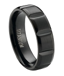 Matte Finished Black Titanium Ring with Wide Vertical Grooves | 6mm - MT0173