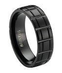 Matte Finished Black Titanium Ring with Vertical and Horizontal Grooves | 8mm - MT0175