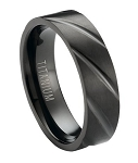 Matte Finished Black Titanium Ring with Polished Diagonal Grooves | 6mm - MT0176