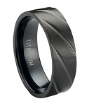 Satin Finished Black Titanium Ring with Polished Diagonal Grooves | 8mm - MT0177