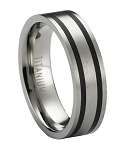Satin Finished Titanium Ring with Flat Profile and Two Black Bands | 6mm - MT0178