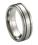 Satin Finished Titanium Ring with Black Bands and a Step-Down Polished Edge | 8mm - MT0179