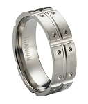 Titanium Wedding Ring with Polished Center Cut and Notches | 8mm