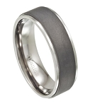 Modern Men's Wedding Band in Titanium with Matte Center | 8mm