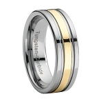 Comfort-fit Tungsten Wedding Ring with Gold Stripe Overlay and Polished Finish - 8 mm - MTG0014