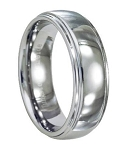 Comfort-fit Ridged Tungsten Wedding Band with Polished Finish – 7 mm - MTG0040