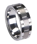 Grooved Men's Tungsten Ring with Satin Finish and Polished Edges - 8mm - MTG0046