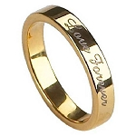 Men's Gold-Toned Engraved Tungsten Wedding Ring Engraved with