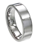 Men's White Tungsten Ring with Flat Satin Finish and Polished Edges | 7mm - MTG0064