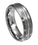 Men's Tungsten Ring with Satin Finish, Polished Groove and Beveled Edge | 7mm - MTG0072