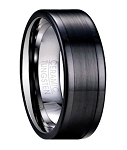 Contemporary Tungsten Wedding Band with Black Ceramic Overlay | 8mm