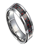 Tungsten Wedding Ring with Black and Red Carbon Fiber Inlay | 8mm