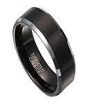 Tungsten 8mm Comfort Fit Wedding Ring for Men with Satin Finish Black IP Center and Polished Gunmetal Edges