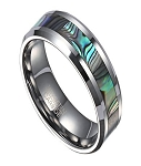 Tungsten Wedding Ring for Men with Abalone Shell Inlay | 8mm