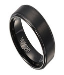 Black Tungsten Wedding Band for Men with Step Down Edges | 8mm