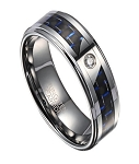 Tungsten Wedding Band with Black and Blue Carbon Fiber and CZ | 8mm