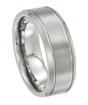 White Tungsten Wedding Band for Men with Beveled Edges | 8mm