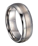Brushed Finish Tungsten Wedding Ring with Polished Edges | 8mm