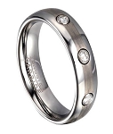 Domed Profile Tungsten Wedding Ring for Men with 3 CZs | 6mm