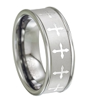 Men's Tungsten Wedding Band with Eternity Style Cross Design | 8mm