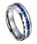Faceted Edge Tungsten Wedding Ring with Blue Carbon Fiber | 7mm