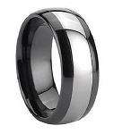 Tungsten and Black Ceramic Ring 7 mm - MTGC0002