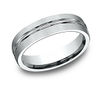 Designer Platinum Men's Wedding Ring With Center Cut | 6mm