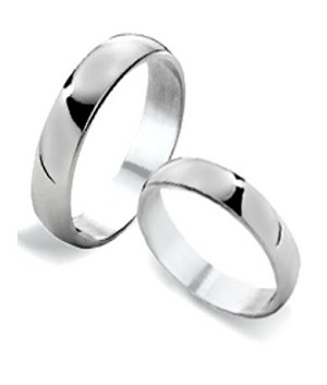 Traditional His and Hers Sterling Silver Wedding Band with Polished Finish  4 mm