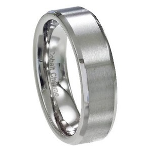 Men's Cobalt Chrome Wedding Ring with Satin Face and Polished Beveled Edges | 6mm - MCB0101