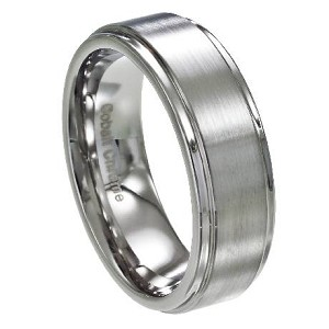 Men's Cobalt Chrome Wedding Band with Satin Face and Polished Edge | 8mm - MCB0104