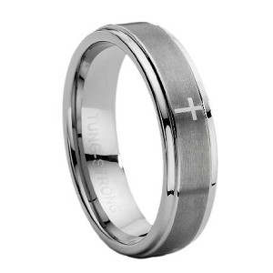Comfort Fit Tungsten Carbide Wedding Ring With Lasered Cross Satin And Polished Finish