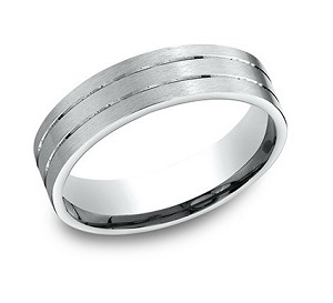 Designer Platinum Men's Wedding Band With Parallel Cuts | 6mm
