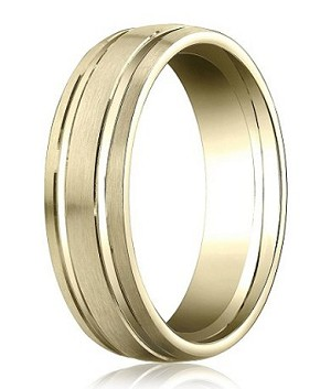 Comfort-Fit 14K Yellow Gold Wedding Band with Designer Engraved Satin Finish – 6 mm - MB1126