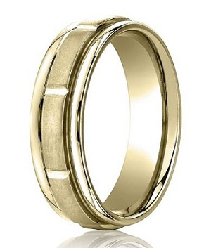 Comfort-Fit 14K Yellow Gold Wedding Band with Designer Engraved Satin Finish – 6 mm - MB1139