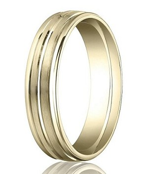 Comfort-Fit 14K Yellow Gold Wedding Band with Designer Engraved Polished Finish  4 mm - MB1127